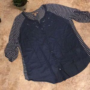 Vintage America women's XL blue/white top